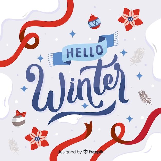 De samenstelling van de winter met mooie typografie Gratis Vector