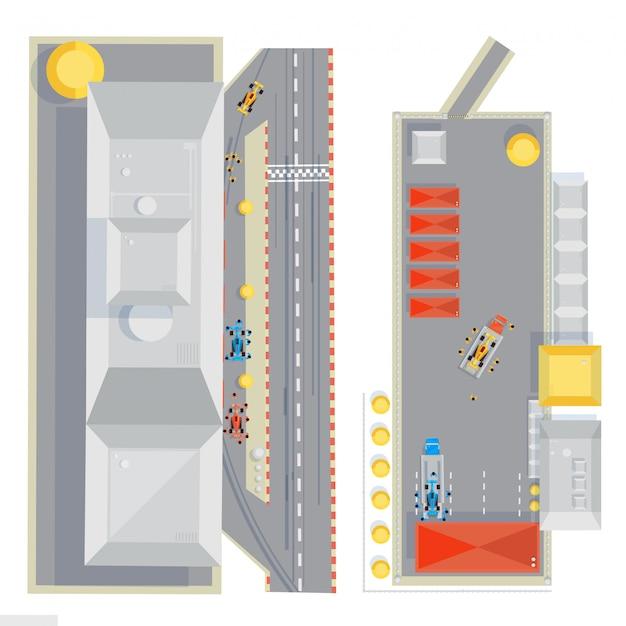 De samenstelling van het renbaanoverzicht met vlakke beelden van raceauto's onder onderhoud tijdens kuileinde ve Gratis Vector
