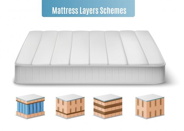 De samenstelling van matraslagen met realistische afbeeldingen van matras en kleurrijke kubieke vormstukken van vleermuis die illustratie vullen Gratis Vector