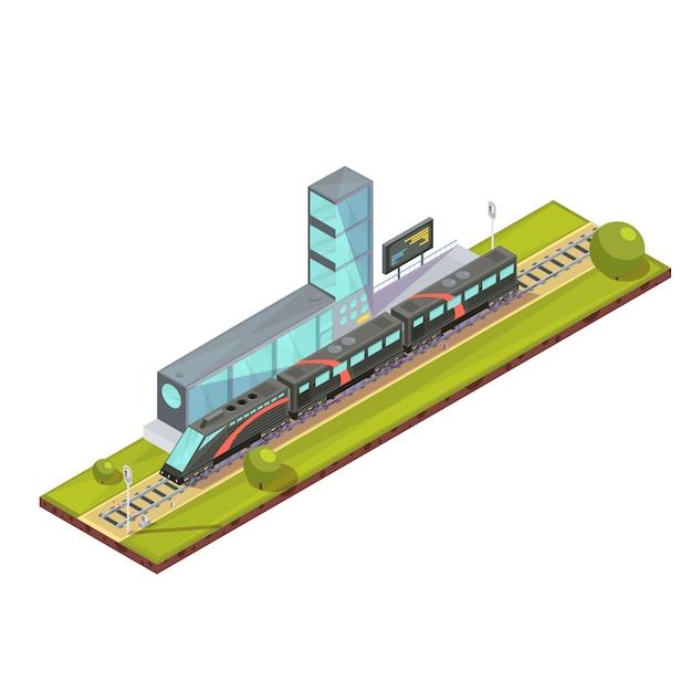 De samenstelling van treinen van de isometrische trein van de spoorwegpassagier en lichte spoorbeelden met de eind bouw van de spoorwegpost vectorillustratie Gratis Vector