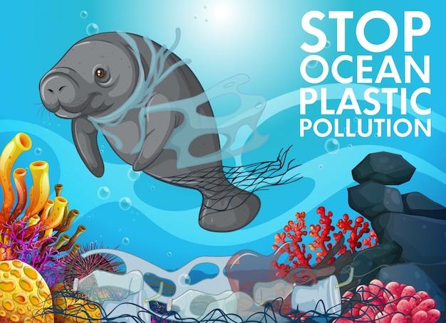 De scène van de verontreinigingscontrole met lamantijn in oceaan Gratis Vector