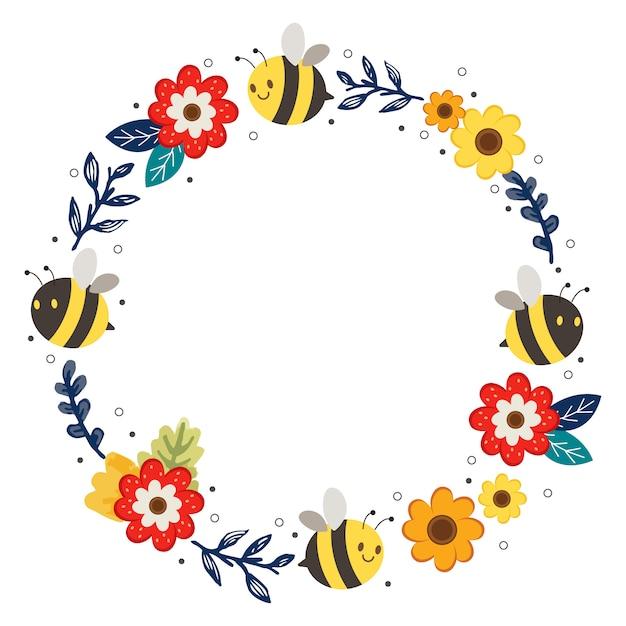 De schattige bloemenring en bijenlijst. het karakter van schattige bijen en bloemen krans. het karakter van schattige bij in platte vectorstijl. Premium Vector