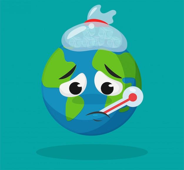 De schattige cartoonwereld is ziek door de opwarming van de aarde. Premium Vector