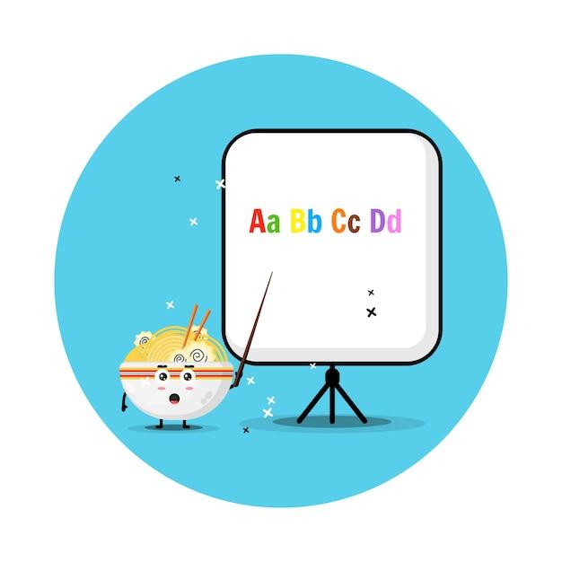 De schattige ramenmascotte legt het alfabet uit Premium Vector
