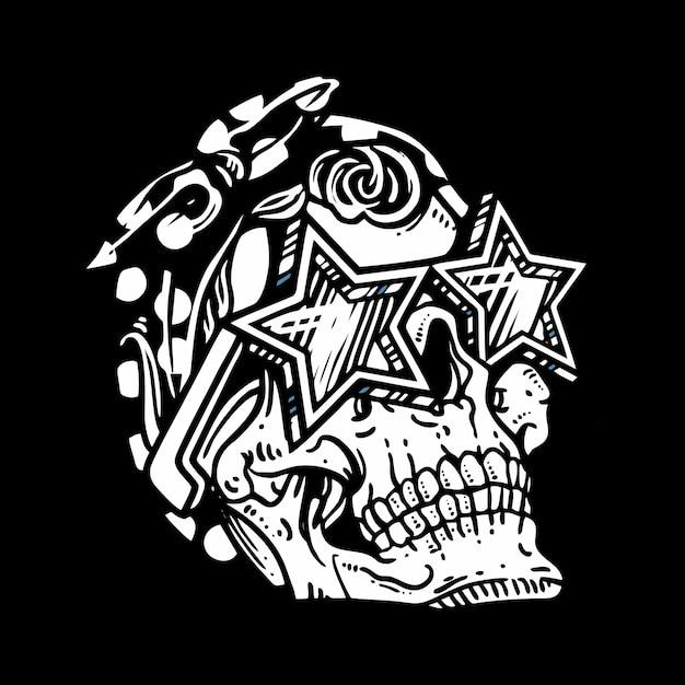 De schedelhoofd die van de grungestijl glazenillustratie dragen Premium Vector