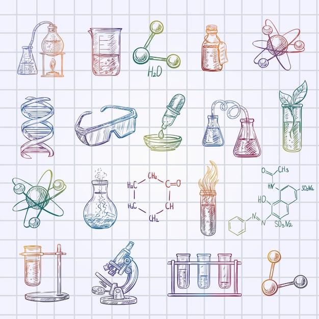 De schetspictogrammen van de chemie die op de gecontroleerde achtergrond van het oefenboek worden geplaatst Gratis Vector