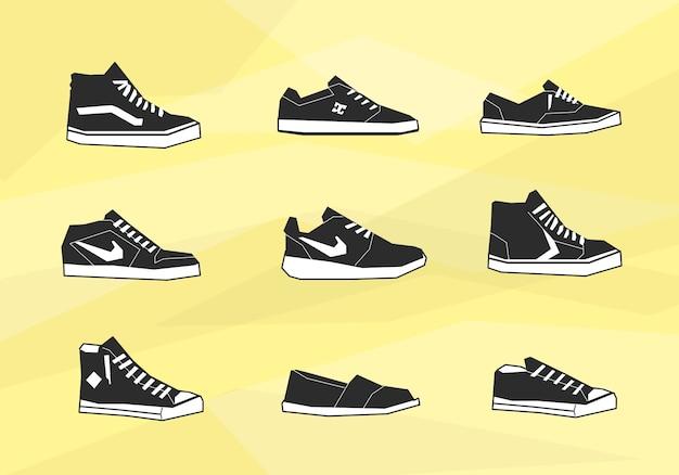 De schoenen van mensen pictogrammen Gratis Vector