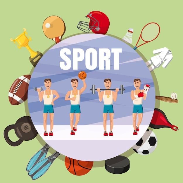 De sectiesconcept van de sportsectie, beeldverhaalstijl Premium Vector