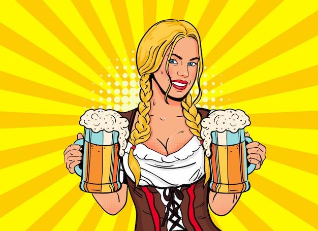 De serveerster van het blondemeisje draagt bierglazen Premium Vector