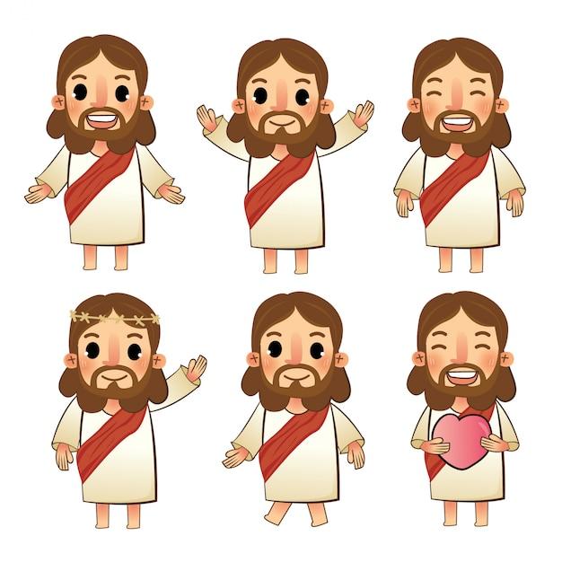 De set van jezus tekens Premium Vector