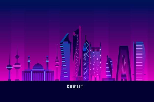 De skyline van koeweit met meerdere donkere kleuren Gratis Vector