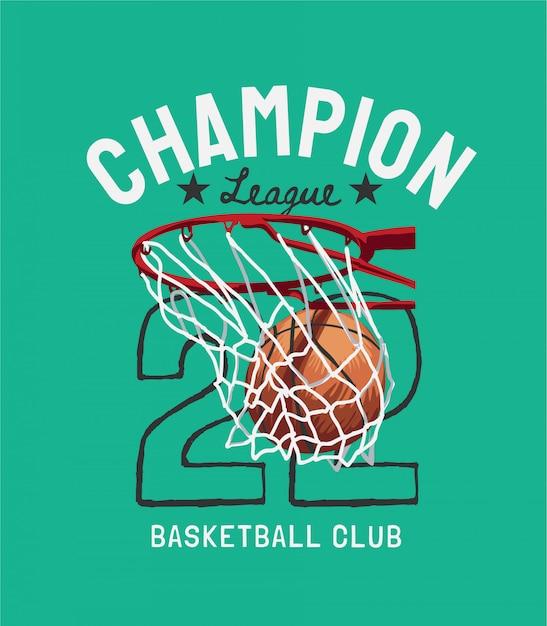 De slogan van de kampioensliga met basketbal in de illustratie van het hoepelbeeldverhaal Premium Vector