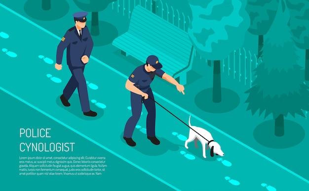 De speciale voetstappen die van de politiecyynoloog hond volgen die bijwonende detectiveinspecteurs bijstaan isometrische de samenstellings vectorillustratie van het misdaadonderzoek Gratis Vector
