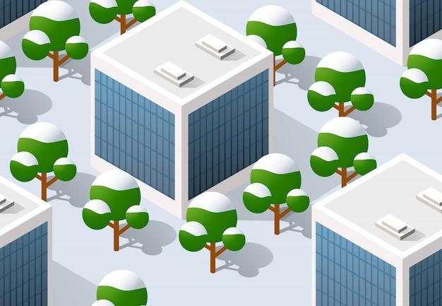 De stad van de architectuurillustratie voor het naadloze herhalen Premium Vector
