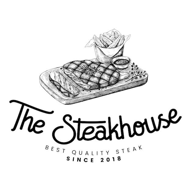 De steakhouse-ontwerpvector van het embleem Gratis Vector