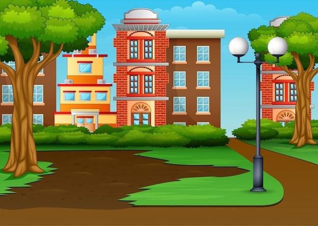 De stedelijke stad panoramisch met een groen park Premium Vector