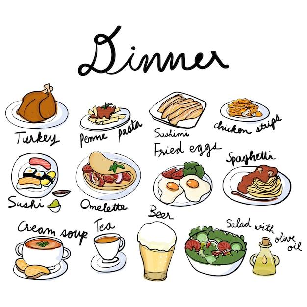 De stijl van de illustratietekening van voedselinzameling Gratis Vector