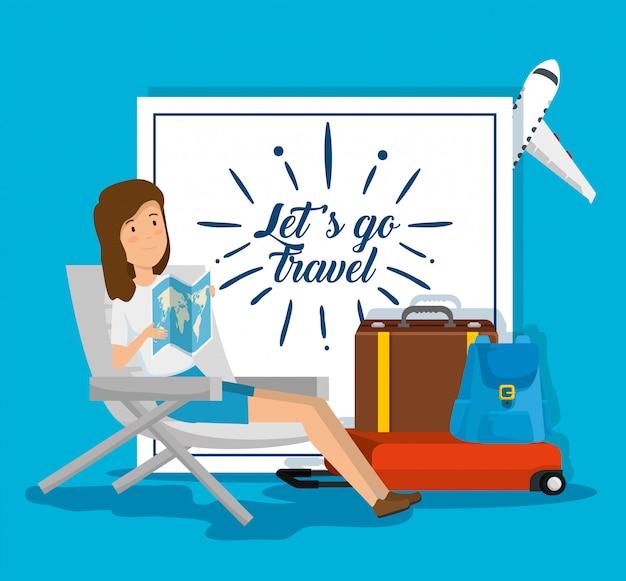 De stoel van de vrouwenplaatsing met globale kaart en bagage Gratis Vector