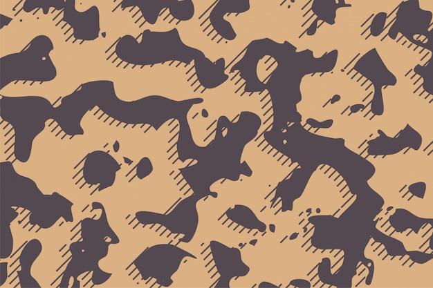 De stoffentextuur van het camouflageleger op bruine schaduwenachtergrond Gratis Vector