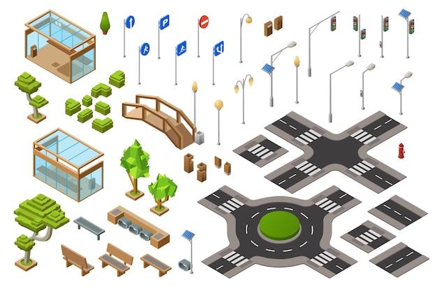De straat isometrische 3d illustratie van het stadsverkeer van verkeerslicht, de tekens van de vervoersrichting. Gratis Vector