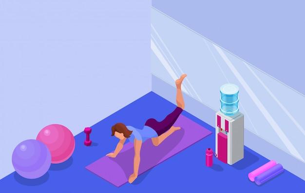 De studiobinnenland van de yoga met vrouw die geschiktheidsoefening doet Premium Vector