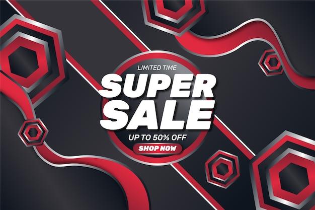 De super verkoopwinkel vat nu rode rode donkere achtergrond samen Gratis Vector