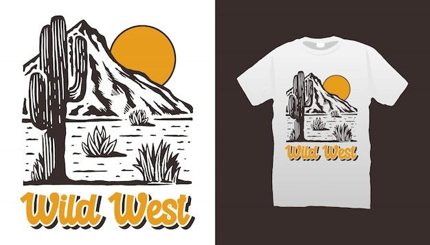 De t-shirt van de woestijn van wilde westennen Premium Vector