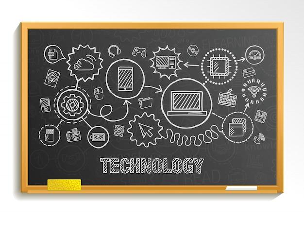 De technologiehand trekt integreert pictogrammen die op schoolraad worden geplaatst. schets infographic illustratie. verbonden doodle pictogrammen, internet, digitaal, markt, media, computer, netwerk interactief concept Premium Vector