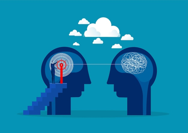 De tegenovergestelde mentaliteit chaos en orde in gedachten concept. Premium Vector