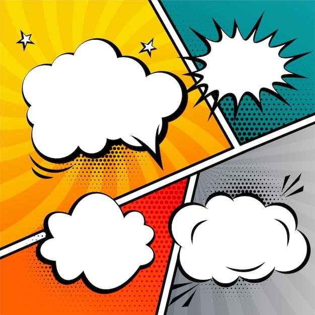 De tekstballon van het stripverhaal en uitdrukkingenmalplaatje Gratis Vector