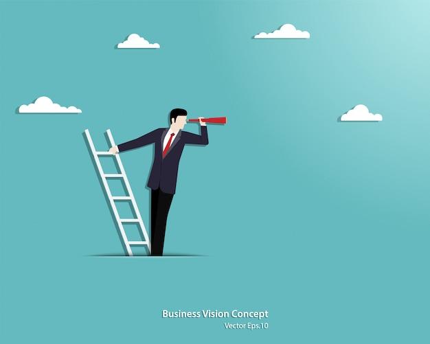 De telescoop die van de zakenmanholding zich bovenop ladder boven wolken bevinden Premium Vector