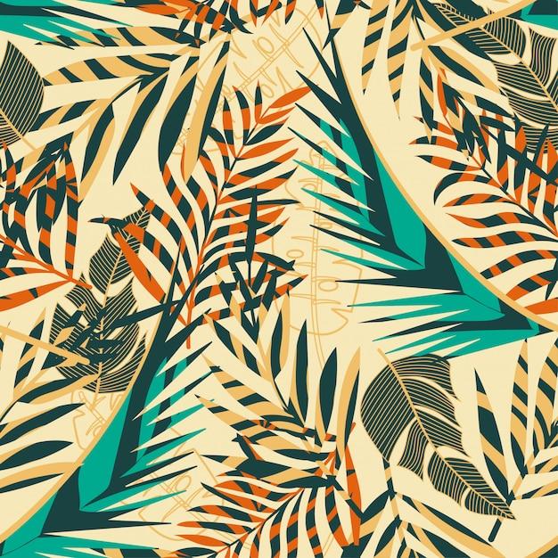 De tendens naadloze achtergrond van de zomer met heldere tropische bladeren en installaties Premium Vector