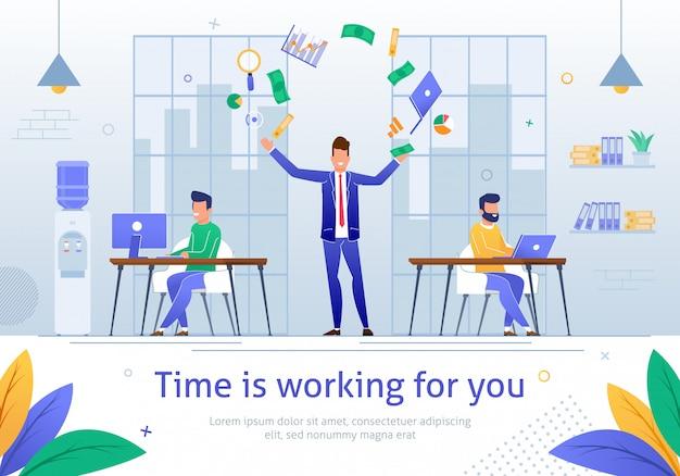 De tijd werkt voor jou Premium Vector