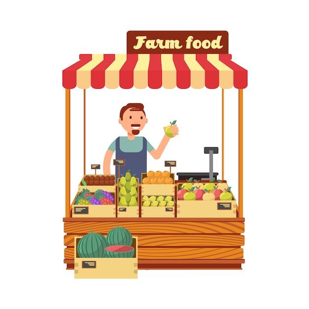 De tribune van de fruit en plantaardige markt met de gelukkige jonge vlakke vectorillustratie van het landbouwerskarakter Premium Vector