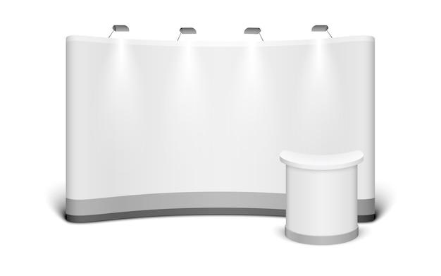De tribune van de tentoonstellingstribune van de handel die omhoog op witte achtergrond wordt geïsoleerd. Premium Vector