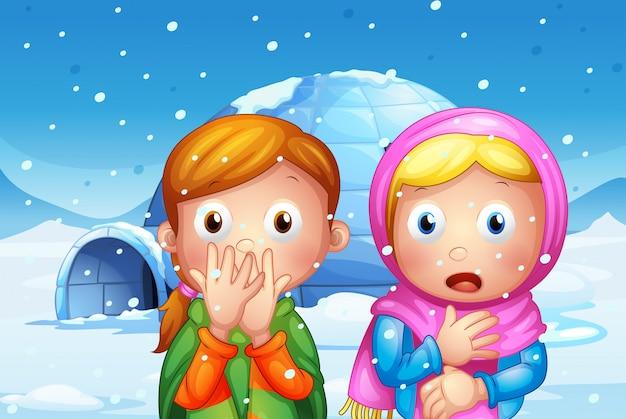 De twee geschrokken meisje met sneeuwvlokken Gratis Vector