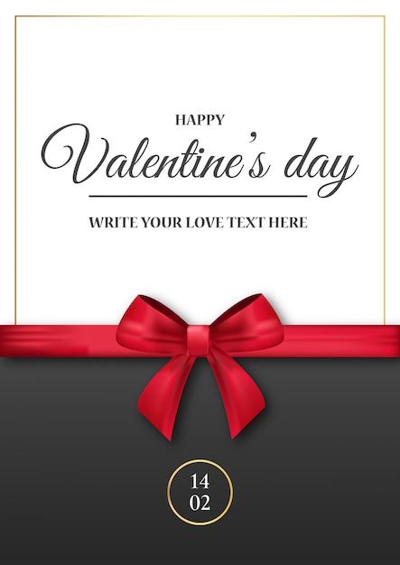 De uitnodiging van de romantische valentijnskaart met realistisch rood lint Gratis Vector