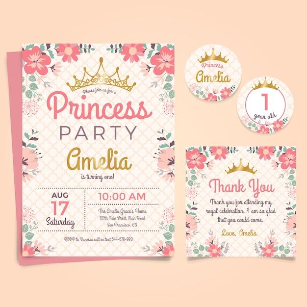 De Uitnodiging van de Verjaardag van de prinses met Kroon en Bloemen Gratis Vector
