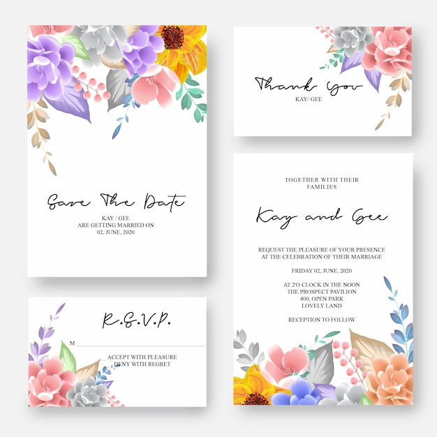 De uitnodiging van het huwelijk, bloemen nodigt dank u, rsvp moderne kaart desig uit Premium Vector