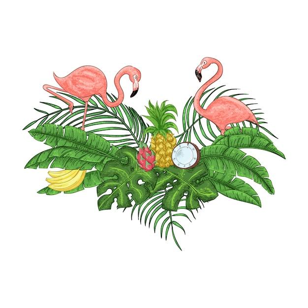 De uitnodigingskaart van de flamingopartij Premium Vector