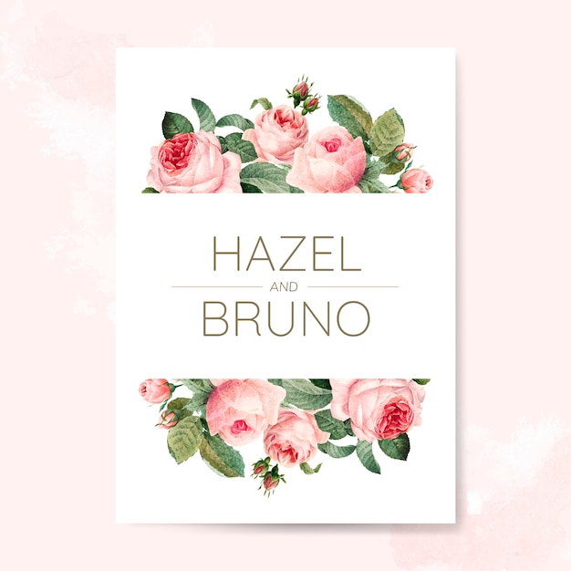De uitnodigingskaart van het huwelijk die met rozen wordt verfraaid Gratis Vector