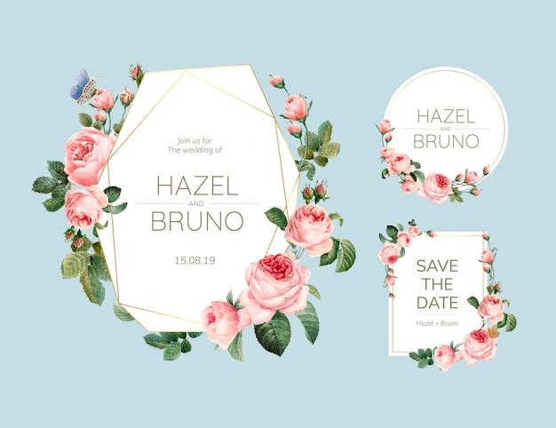 De uitnodigingskaart van het huwelijk die met rozenvector wordt verfraaid Gratis Vector