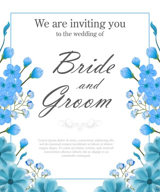 De uitnodigingsmalplaatje van het huwelijk met blauw frame en vergeet-mij-nietjes. Gratis Vector