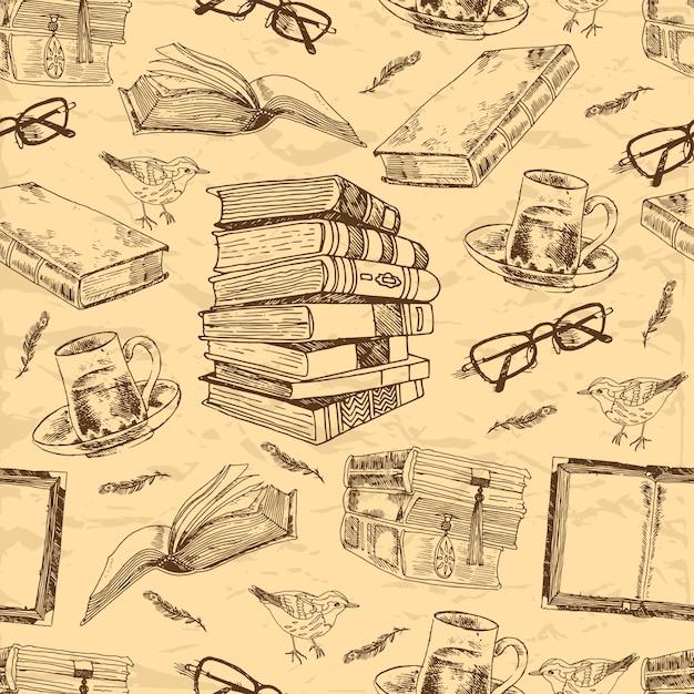 De uitstekende boeken schetsen naadloos patroon met de theekop van de vogelveer en glazen vectorillustratie Premium Vector