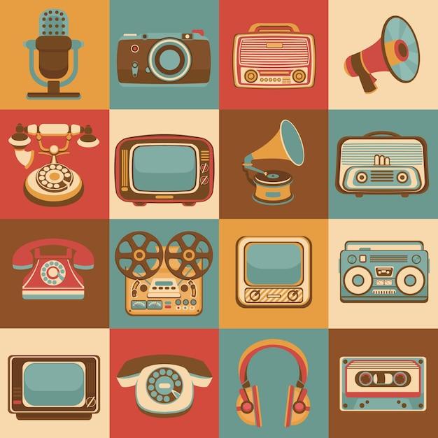 De uitstekende retro media reeks van gadgetspictogrammen van radiomicrofoon geïsoleerde vectorillustratie Premium Vector