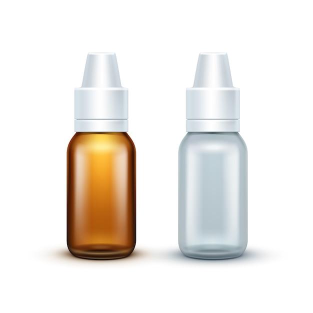 De vector lege geïsoleerde fles van de glas medische nevel Premium Vector
