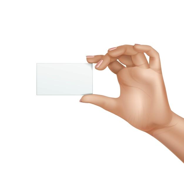 De vector vrouwelijke lege geïsoleerde kaart van de handholding Premium Vector
