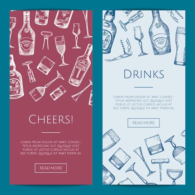 De vectorhand getrokken flessen van de alcoholdrank en de bannersillustratie van het glazen verticale web Premium Vector