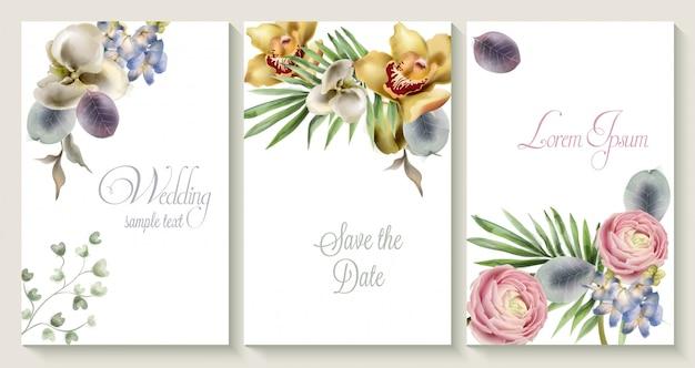 De vectorkaart van de huwelijksuitnodiging die met orchideebloemen wordt geplaatst Premium Vector