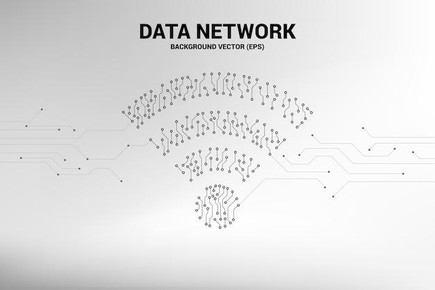 De vectorpunt verbindt pictogram van de de stijl mobiel gegevens van de lijncircuitraad. concept voor wi-fi Premium Vector